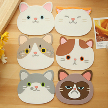 ФОТО 6 designs cute cartoon cat cup mat coaster slip insulation pad coaster table decoration novelty households goods
