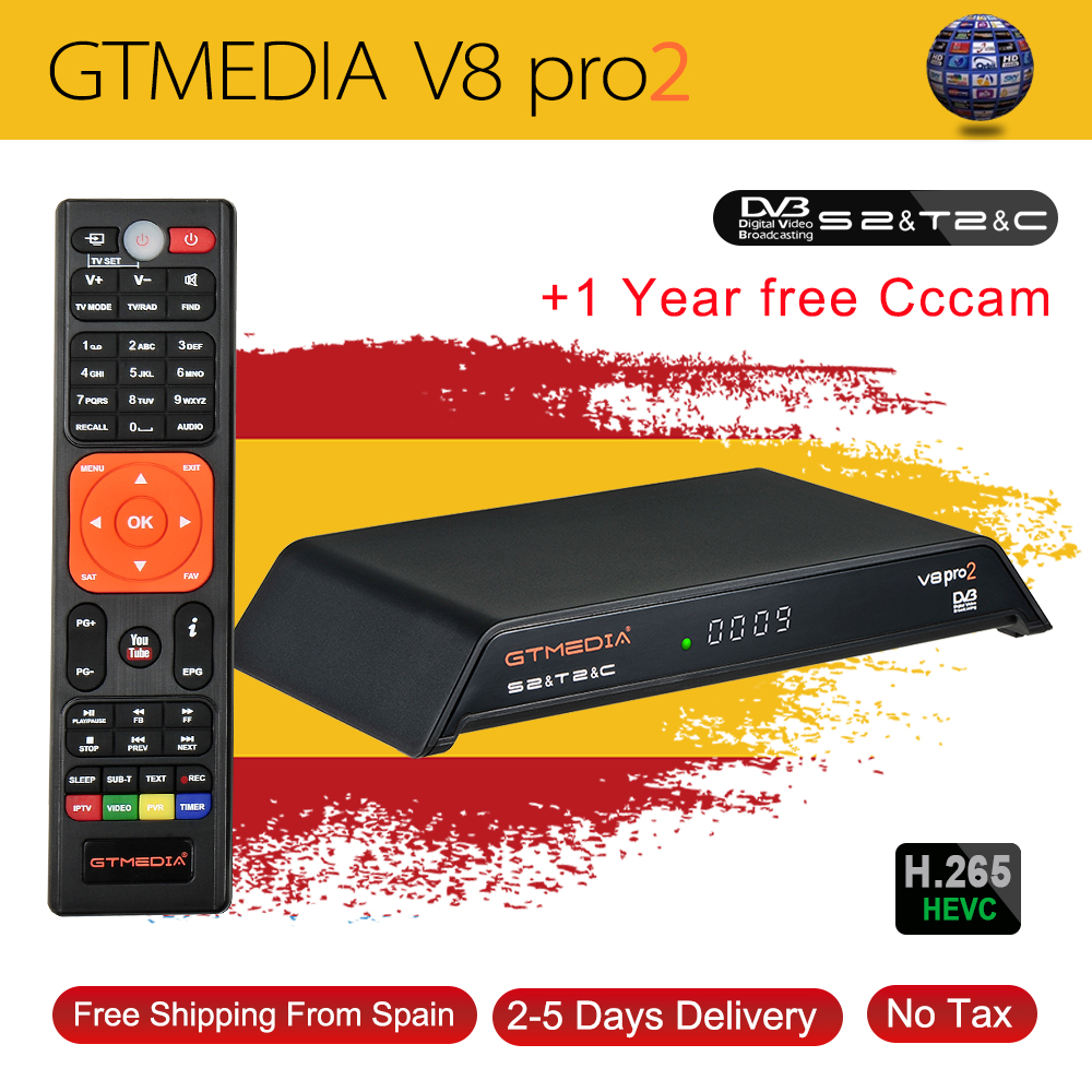 GT Media V8 Pro2 DVB S2/T2/C Satellite Receiver V8 Golden New Version H.265 Built in2.4G WIFI+1 Year Europe Spain PT DE PO CCcam-in Satellite TV Receiver from Consumer Electronics