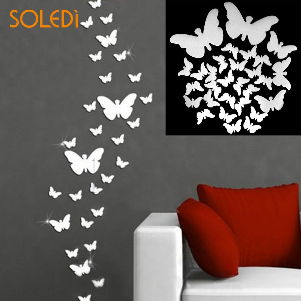 12pcs 3D Mirrors Butterfly Wall Stickers Decal Homer Room Party Wedding DIY