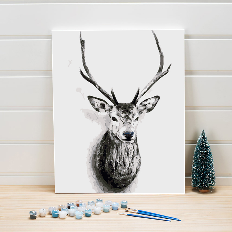 Deer Canvas Painting By Numbers 40x50CM Animal Acrylics Paints Number Coloring Arts Wall Pictures For Bedroom Decoration Package
