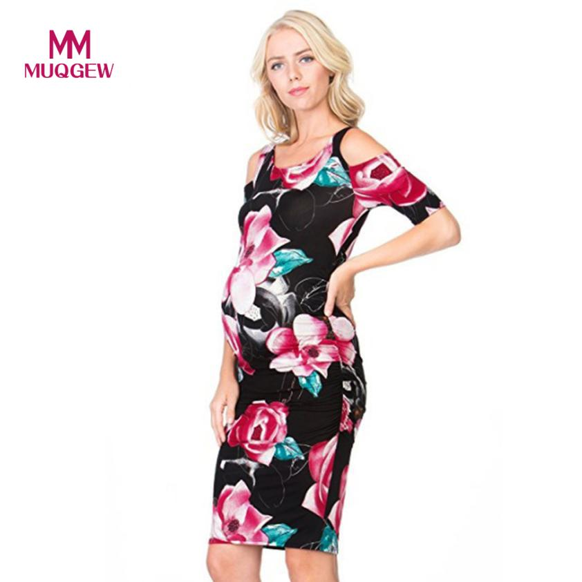 New Arrival High Quality Hit Color Mother Women Floral Print Cold Shoulder Body-Con Dress Pregnant Woman Dress