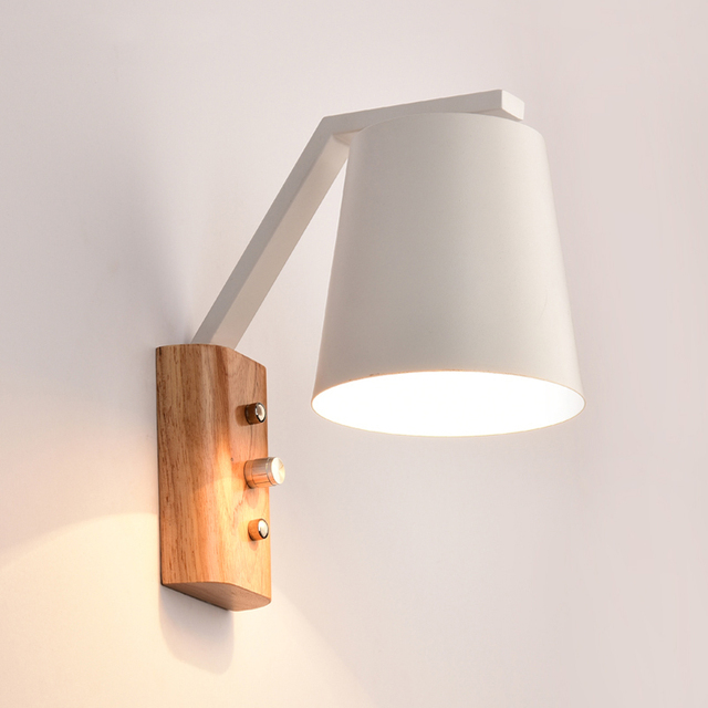 Nordic Art Wall Lamps Creative Sconce Bedroom Study Bedside Balcony Aisle Porch Hotel Cafe Wood Lamp Switch Light Bra