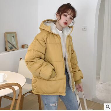oversize 2019 Real New Full Zipper Solid Fashion Cotton Cotton-padded Jacket More Big Yards Hooded Warm Q17 Winter Jacket Women