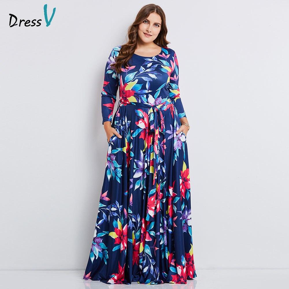 Dressv blue o neck plus size evening dress elegant a line 3/4 ...