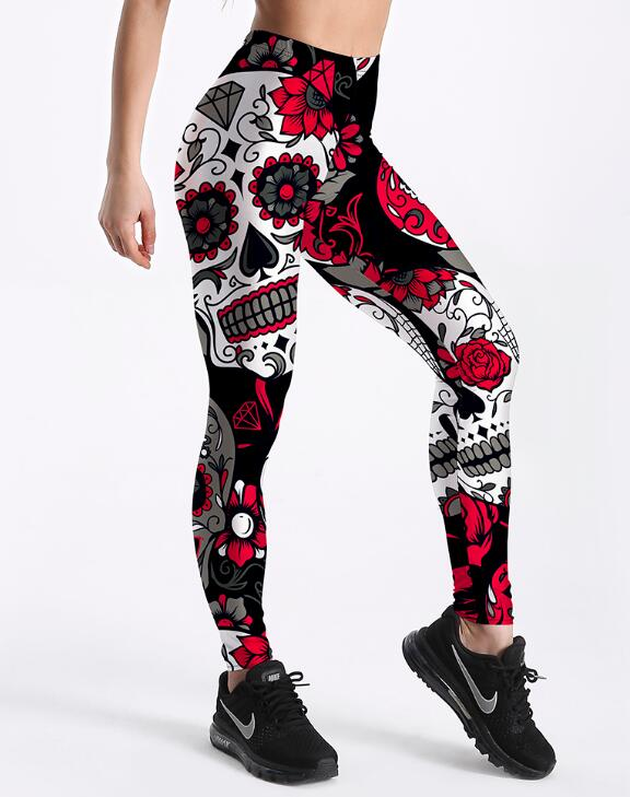 Qickitout Leggings Hot Sell Women's Skull&flower Black Leggings Digital Print Pants Trousers Stretch Pants Plus Size 10