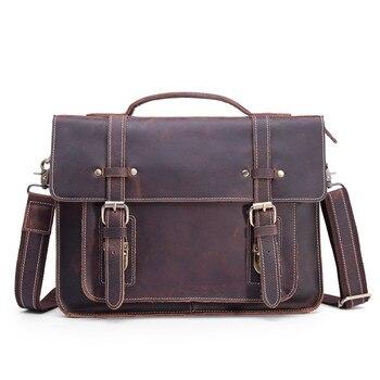 Men's Briefcase Portfolio Genuine Leather Vintage Crazy Horse Male Crossbody Messenger Bag Shoulder Sling Handbag For Business