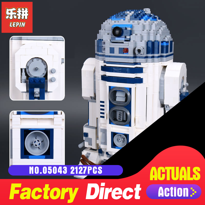 Lepin 05043 2127Pcs Star Genuine Series The R2 Robot Set Out of print D2 Building Blocks Bricks Toys 10225 Model Wars new 2127pcs lepin 05043 star war series r2 d2 the robot building blocks bricks model toys 10225 boys gifts