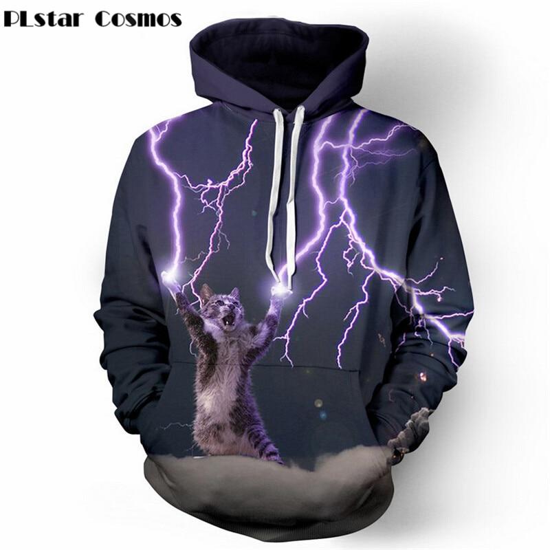 PLstar Cosmos Thundercat Felpa gatto fulmini thunder 3d felpa con cappuccio da Donna Uomo Felpe harajuku con cappuccio Casual Felpe