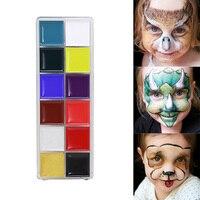 12 Colors Colors Mixed Eyeshadow Palette Trang Điểm Sơn Dầu Sơn Body Mặt Sắc Tố Đèn Flash Tattoo Dầu Art Mặt Trẻ Em Chơi trò chơi