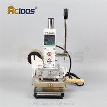 Máquina de estampado de letras rcidas de latón tipo WT 90DS + T, bronceador de cuero, máquina de estampación en caliente, 110V/220V, con portarrollos de papel de aluminio
