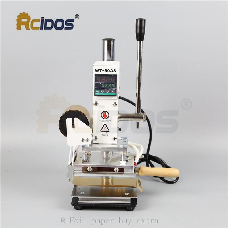 WT 90DS + т типа латунные буквы RCIDOS штемпелюя машина, кожа бронзируя, машина для горячего тиснения фольгой, 110В/220В, с держателем рулона фольги