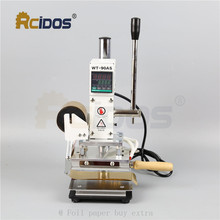 WT 90DS + T סוג פליז אותיות RCIDOS Stamping מכונת, עור bronzing, חם לסכל stamping מכונת, 110V/220V, עם רדיד רול מחזיק