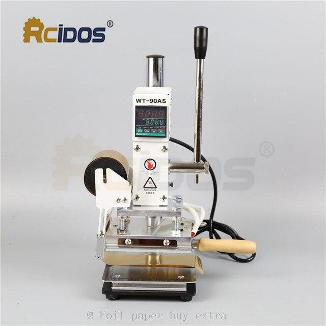 WT 90DS + T tipi pirinç harfler RCIDOS damgalama makinesi, deri bronzlaşma, sıcak folyo damgalama makinesi, 110V/220V, folyo rulo tutucu