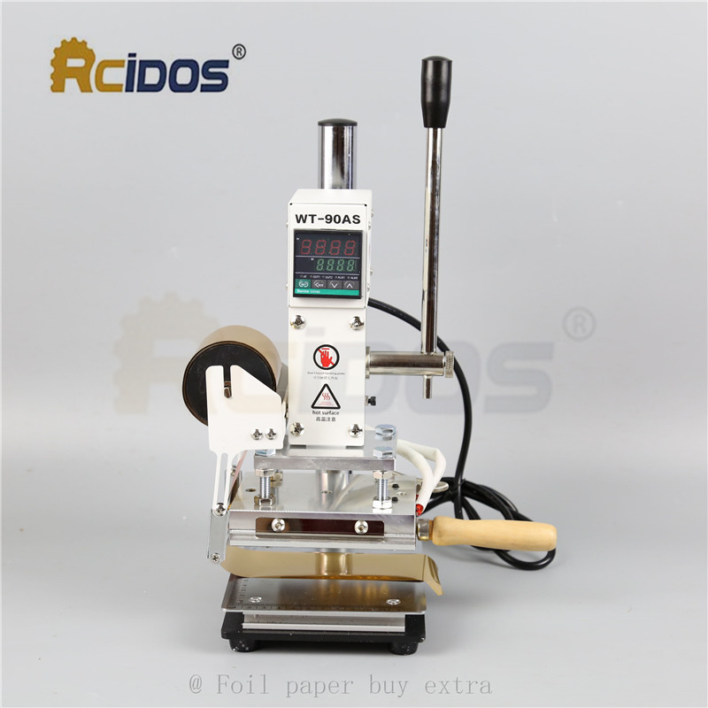 WT 90DS+T type brass letters RCIDOS Stamping Machine,leather bronzing,hot foil stamping machine,110V/220V,with foil roll holder-in Tools from Home & Garden    1
