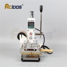 WT 90DS + T type laiton lettres RCIDOS emboutissant la Machine, bronzant en cuir, machine destampage à chaud, 110V/220V, avec porte rouleau daluminium