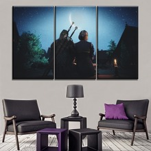 Wall Art Ciri And Geralt of Rivia Picture 3 Piece The Witcher 3 Wild Hunt Game Poster Canvas HD Print Modern Home Decorative все цены