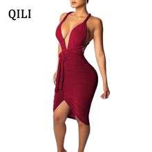 QILI Sexy Deep V Neck Bandage Dress For Women Sleeveless Backless Pleated Asymmetrical Skinny Dresses Party Club S-XXL