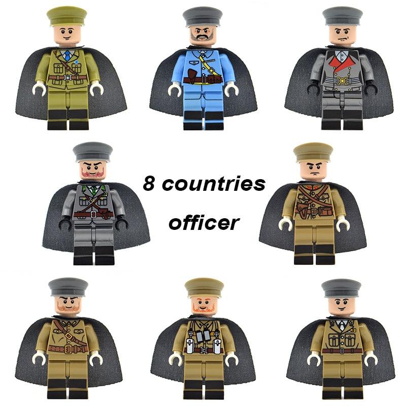 WW2 Army Officer Military Soldiers German US UK Soviet Union Italy France Building Blocks Bricks Toys LS1609 toys union мозаика с аппликацией пони 90 деталей д 15 мм toys union