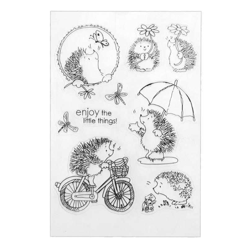 Cute Hedgehog Clear Stamps Transparent Silicone Stamps For Scrapbooking DIY Crafts Stamp For Photo Album Paper Card Making lovely bear and star design clear transparent stamp rubber stamp for diy scrapbooking paper card photo album decor rm 037