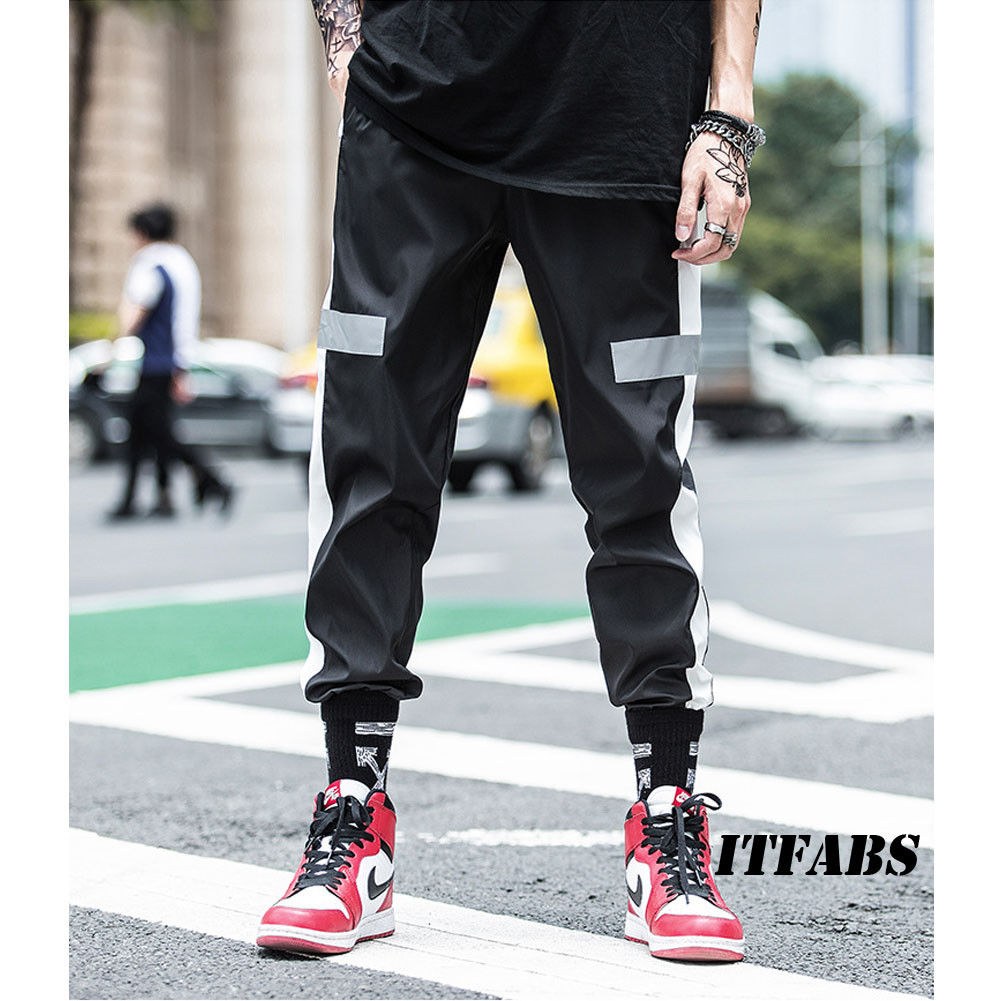 Mens Casual Reflective Pants Long Trousers Tracksuit Workout Joggers Sweatpants