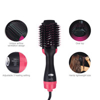 Multifunctional 2 In 1 Hair Dryer Volumizer Rotating Hot Hair Brush Roller Anion Styler Comb Styling Straightener Curling Iron