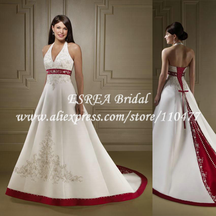 Simple design v neck open back embroidery red and white for Simple red wedding dresses