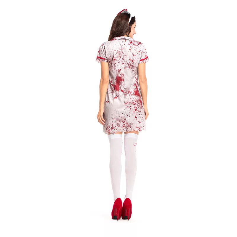 efdc329e7 Teen Girls & Women Halloween Horror Nurse Zombie Costume Scary Bloody White  Dress Uniform Fancy Clothing Outfit For Female-in Scary Costumes from  Novelty ...