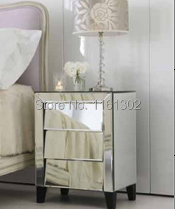 MR 401049 Beveled Edged Mirrored Night Stand Side Table