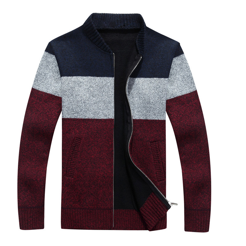 2016 New Winter font b Mens b font Cardigan Casual V Neck Patchwork Knitted font b