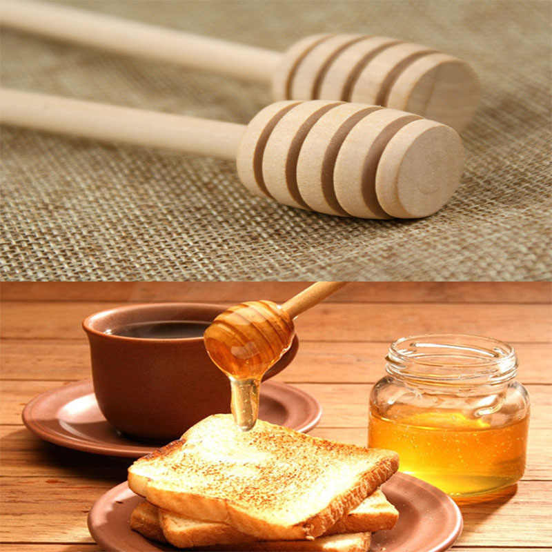 50pcs Mini Wood Honey Stick Spoon Stick Dipper Honey Stirring Bar Party Supplies RT99