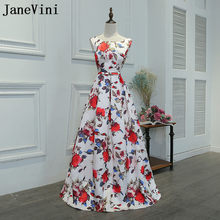 JaneVini Robe Soiree Floral Print Satin Prom Dress 2018 Sleeveless A-Line Women Bridesmaid Dresses For Wedding Party Dress Long(China)