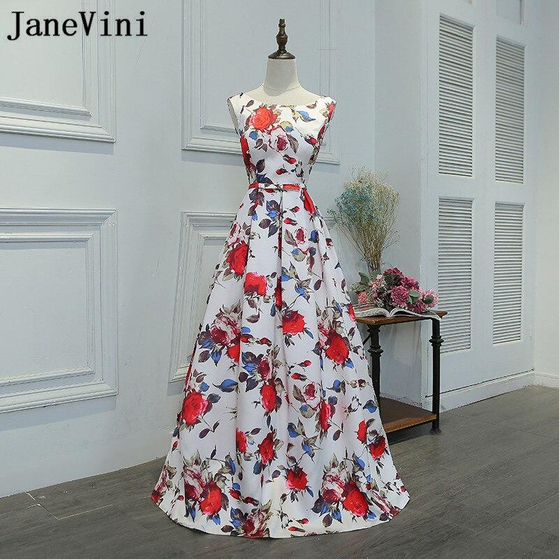 JaneVini Robe Soiree Floral Print Satin Prom   Dress   2018 Sleeveless A-Line Women   Bridesmaid     Dresses   For Wedding Party   Dress   Long