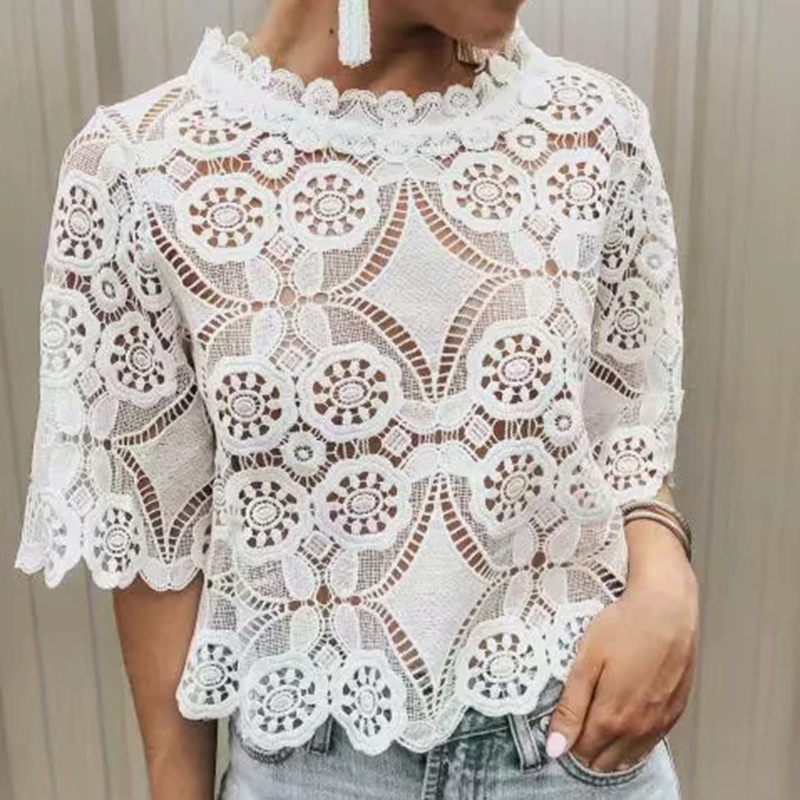 women lace   blouse   short sleeve girls lovely embroidery floral   shirt   2019 summer ladies hollow out   blouse   female tops femme chic