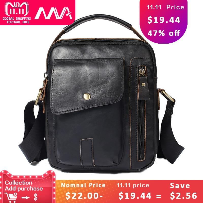 MVA Fashion Brand Messenger Bag Men's Genuine leather Male Shoulder Bag with Cell Phone Pocket Small Flap Handbags for Men Bags все цены