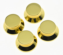 4pcs Gold Metal LP Top Hat Bell Knobs Guitar Bass Knob for Metric 5.8mm Pots