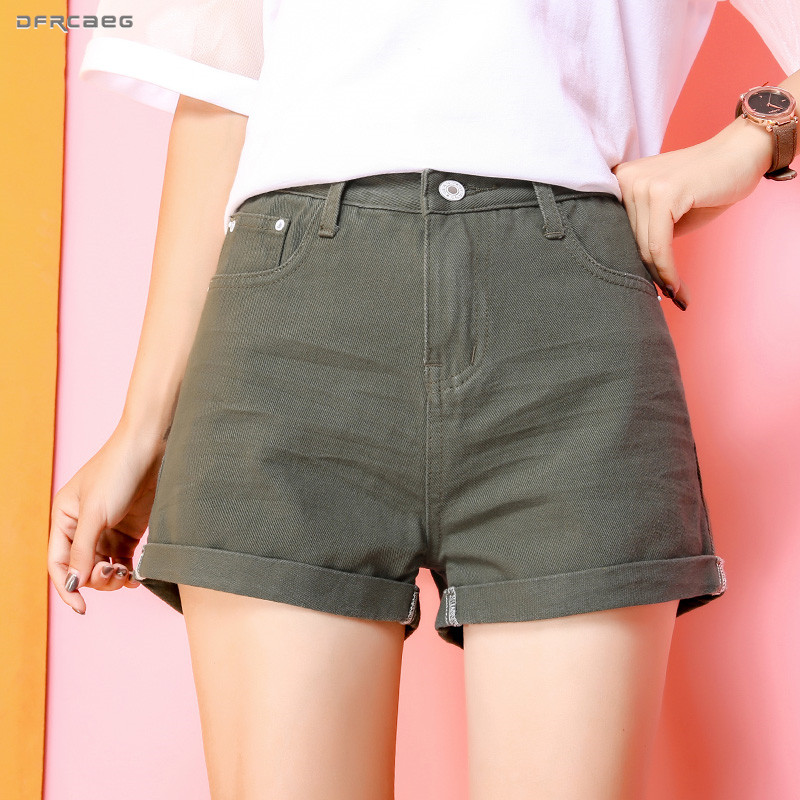 Candy Color Women A-Line Denim   Shorts   2019 Summer High Waist Slim   Short   Pants Casual Crimping Jeans   Shorts   Female