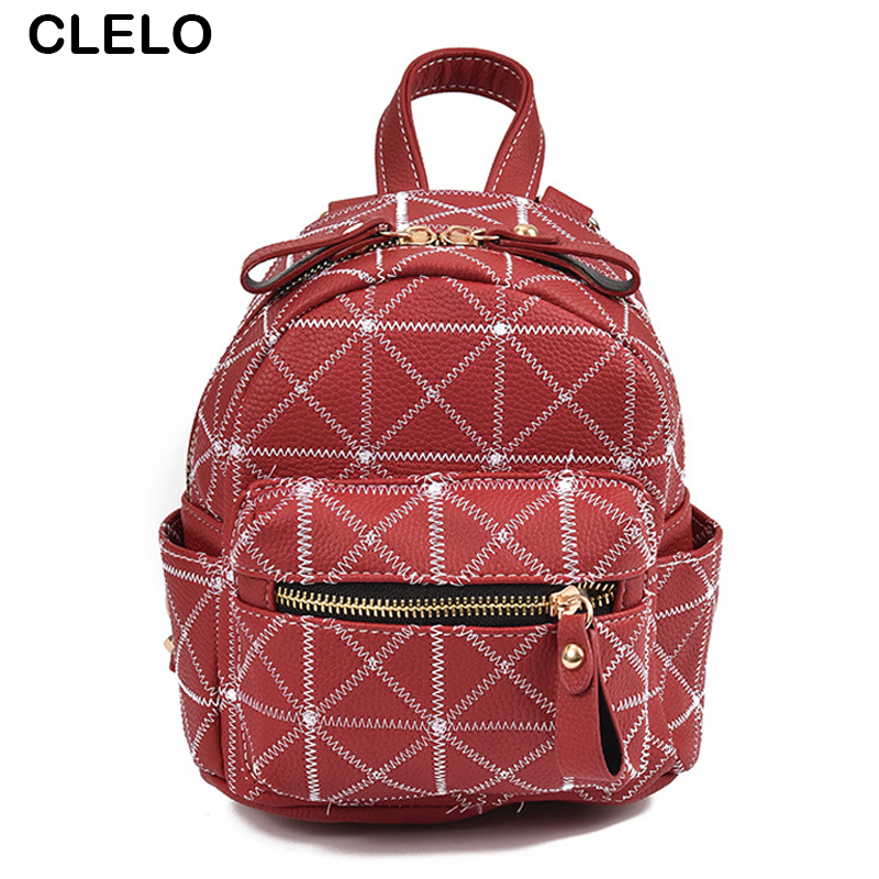 CLELO new fashion women pu backpack hit color women s bag leisure package travel school bags