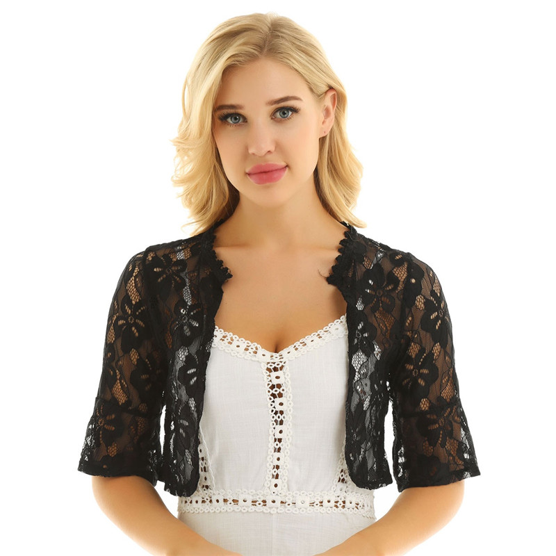 Floral Lace Wrap Half Bell Sleeve Black White Bridal Wraps Jacket Bolero 1