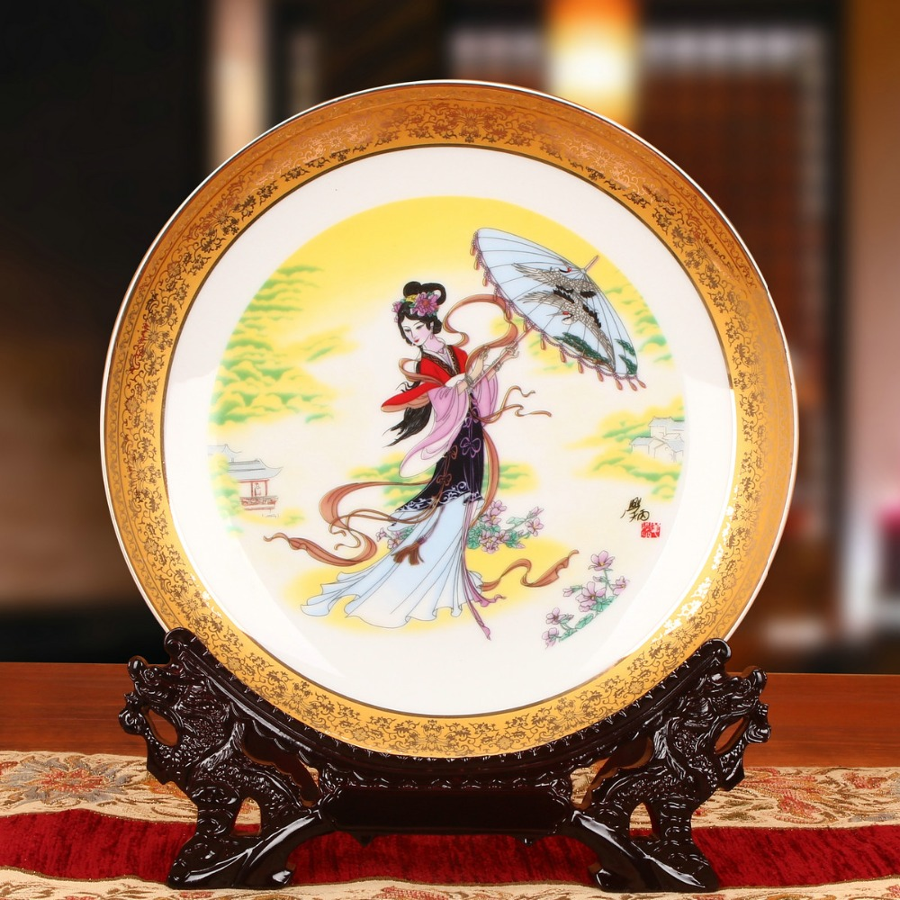 The Portrait of Chinese Ancient Beauties Plate Chinese Style Ceramic Plate Wood Base Porcelain Bedroom Art Decorative Plate-in Bowls u0026 Plates from Home ... & The Portrait of Chinese Ancient Beauties Plate Chinese Style Ceramic ...