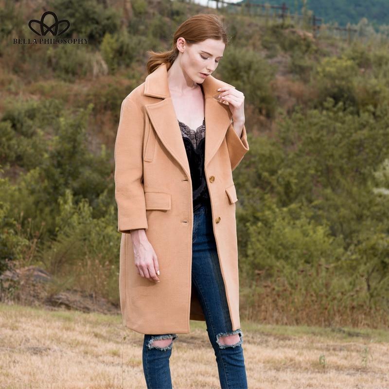 Décontracté 2018 Préparation Bella Outwears army Veste D'hiver En rose Femmes Casual Long Philosophie Boutonnage Bleu Green kaki Manteau Chaud Longue Laine qF55fx6wAn