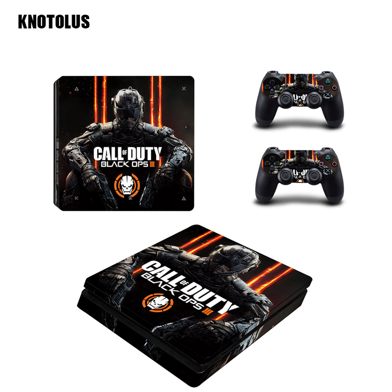 for PS4 Slim Skin Sticker For Sony Play Station 4 Console Controllers PS4 Slim Skins Sticker Decal Vinyl Call of Duty Black Ops
