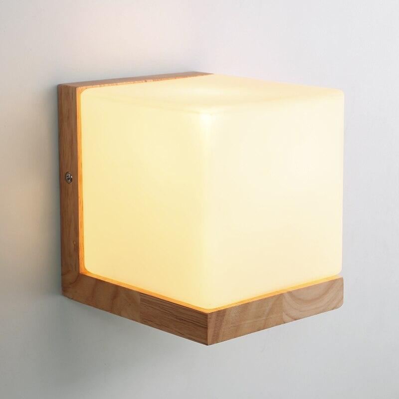 €44.93 20% de réduction|Moderne chêne bois Cube sucre ombre applique murale  chambre en bois verre applique murale chevet applique murale salle de ...