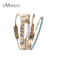 eManco Wholesale Trendy Ethnic Multi Layer Bangles Statement ID Bracelets & Bangles for Women Pink Crystal Separable Jewelry(China)