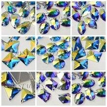 Кристалл замок микс стекло шитье кристалл AB Flatback пришить Стразы Кристалл Камень для пришивания для свадебной обуви платье SWO011