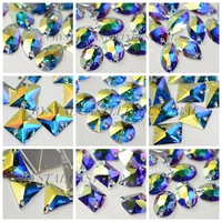 Crystal Castle Mix Glass Sewing Crystal AB Flatback Sew On Rhinestones Strass Crystal Sewing Stone For Bridal Shoes Dress SWO011