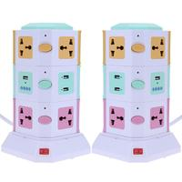 3 Layer Universal Smart Electrical Plug Vertical Power Socket Outlet With Independent Switch LED Lights MP3 play +2 USB Ports