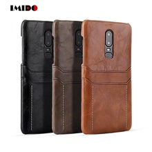 IMIDO Luxury Leahter PU Phone Case For One Plus 6 Two Wallet Card Silicon TPU Back Cover Fundas Coque Capa
