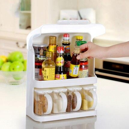 plastic storage rack shelf storage rack spices seasoning rack French high quality kitchen supplies