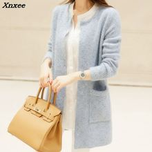New  Spring 2018 Women Sweater Cardigans Casual Warm Long Design Female Knitted Coat Cardigan Lady Xnxee