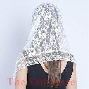 Image 4 - Véu branco preto do laço do véu da mantilha católica para a cabeça da igreja que cobre o véu da noiva da missa latina velo de novia 2019 voile dentelle